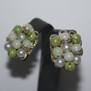 Vintage silver green and pearl clip earrings